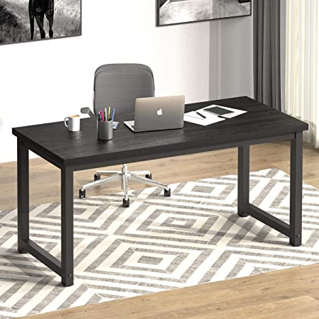"""NSdirect 63"""" Large Computer Desk,Modern Simple Style PC Table Office Desk Wide Workstation for Study Writing,Gaming and Home Office,Extra 1"""" Thicker Wooden Tabletop and Black Metal Frame,Black"""