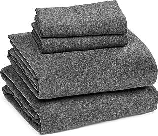 Amazon Basics Parure de lit en jersey de coton chiné pour lit Queen size Gris foncé