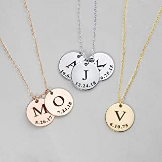 Delicate Initial Disc Necklace Coin Graduation Gift Valentine's Day Gift for Her Personalized Initial Jewelry for Women - LCN-ID-L