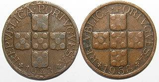 PT 1943 & 1958 Lot of 2 Portugal 20 Centavos Coins Good/Fine