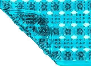 "DecorRack Bath Mat with Suction Cups, 31"" x 15"", Non-Slip Massage Shower Mat, Extra Long, Slip Resistant, Antibacterial Bathroom Tub Mat, Fast-Drying, Deep Massage Scrubber, Blue (1 Pack)"