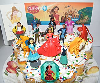 Disney Elena of Avalor Deluxe Mini Cake Toppers Cupcake Decorations Set of 14 with Figures, a Sticker Sheet and Toy Ring Featuring Princess Elena, Isabel, 3 Jacquins and More!