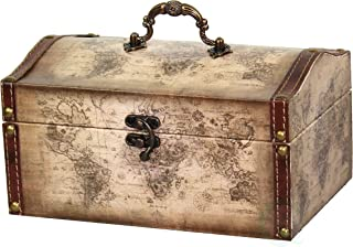 Vintiquewise(TM) Old World Map Leather Vintage Style Decorative Treasure Box