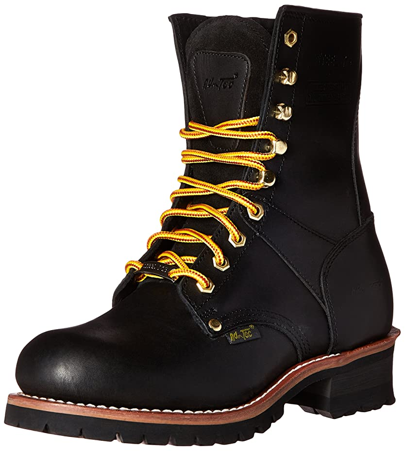 たるみ簡潔なアプライアンスAdTec Men's 9 Inch Steel Toe Logger Boot, Black, 10.5 W US