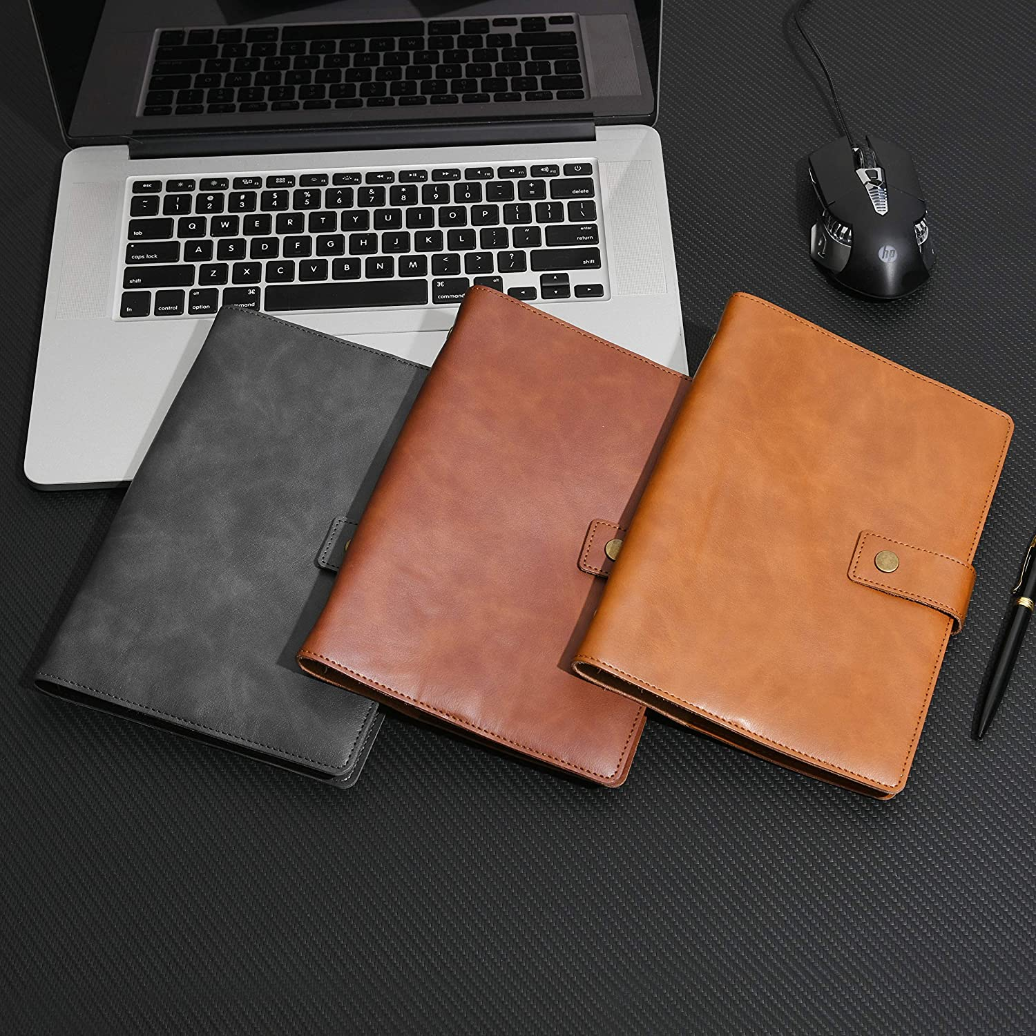 Wonderpool Binder Leather Travel Journal Set with Dot Grid Paper Spiral Diary Refillable Notebook with Real Leather Inner Pockets for Man Woman Brown, A5