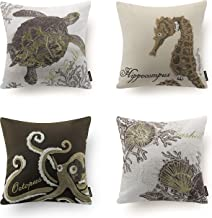 Phantoscope Set of 4 Light Brown Beige Ocean Theme Park Decorative Sea Horse Turtle Octopus Throw Pillow Case Cushion Cover 18 x 18 inches 45cm x 45cm