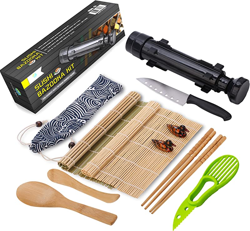 Sushi Making Kit All In One Sushi Bazooka Maker With Bamboo Mats Bamboo Chopsticks Avocado Slicer Paddle Spreader Sushi Knife Chopsticks Holder Cotton Bag DIY Sushi Roller Machine Black