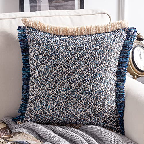 high quality Phantoscope Decorative Boho Throw Pillow with Pillow Insert Included, Hand Woven Textured discount Pillow Cover with Fringe Trim, Modern Farmhouse Square outlet sale Cushion Pillow, Dark Blue 18 x 18 Inches outlet online sale