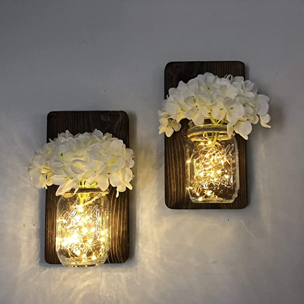 Mason Jar Sconce Set Of Two Complete With LED Fairy Lights Choice Of Flowers
