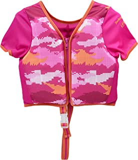 Swimschool Swim Trainer Vest with Sun Protective Sleeves, Adjustable Safety Strap, Medium/Large, up to 50 Lbs., Pink
