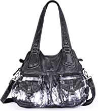 Angelkiss Top-Handle Handbags and Purses for Women Washed PU Leather Roomy Satchel for Women