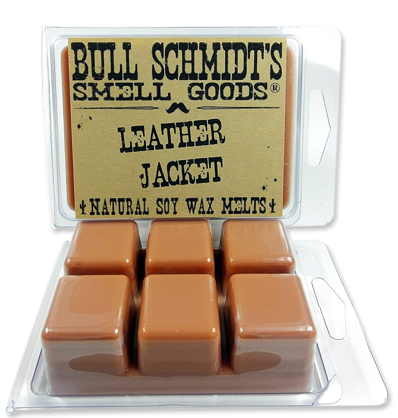 Bull Schmidt's Leather Jacket 6.4 oz Scented Wax Melts - Smells like a brand new WWII bomber jacket - 50+ hours of fragrance when melted in Scentsy or other tart warmer, Pack of 2