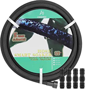 ANBRINA Soaker Hose 100 feet for Garden, Anti-aging and Anti-fracture Hose, Heavy Duty Drip Garden Hose, Save 70% Water Garden Hose for Lawn, 100 FT x 1/2 inch (INC 25 FT, 50 FT, 75 FT, 100 FT)