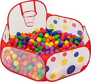 FoxPrint Basketball Ball Pit - Toddler Ball Pit Tent - Sensory Ball Pit with Basketball Hoop & Zippered Storage Bag - 4'/1...