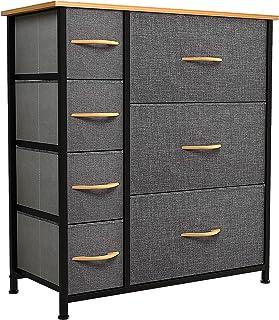 YITAHOME Commode 7 tiroirs – Meuble de Rangement pour Chambre à Coucher avec 7 tiroirs en Tissu,Dessus en Bois et Cadre en...