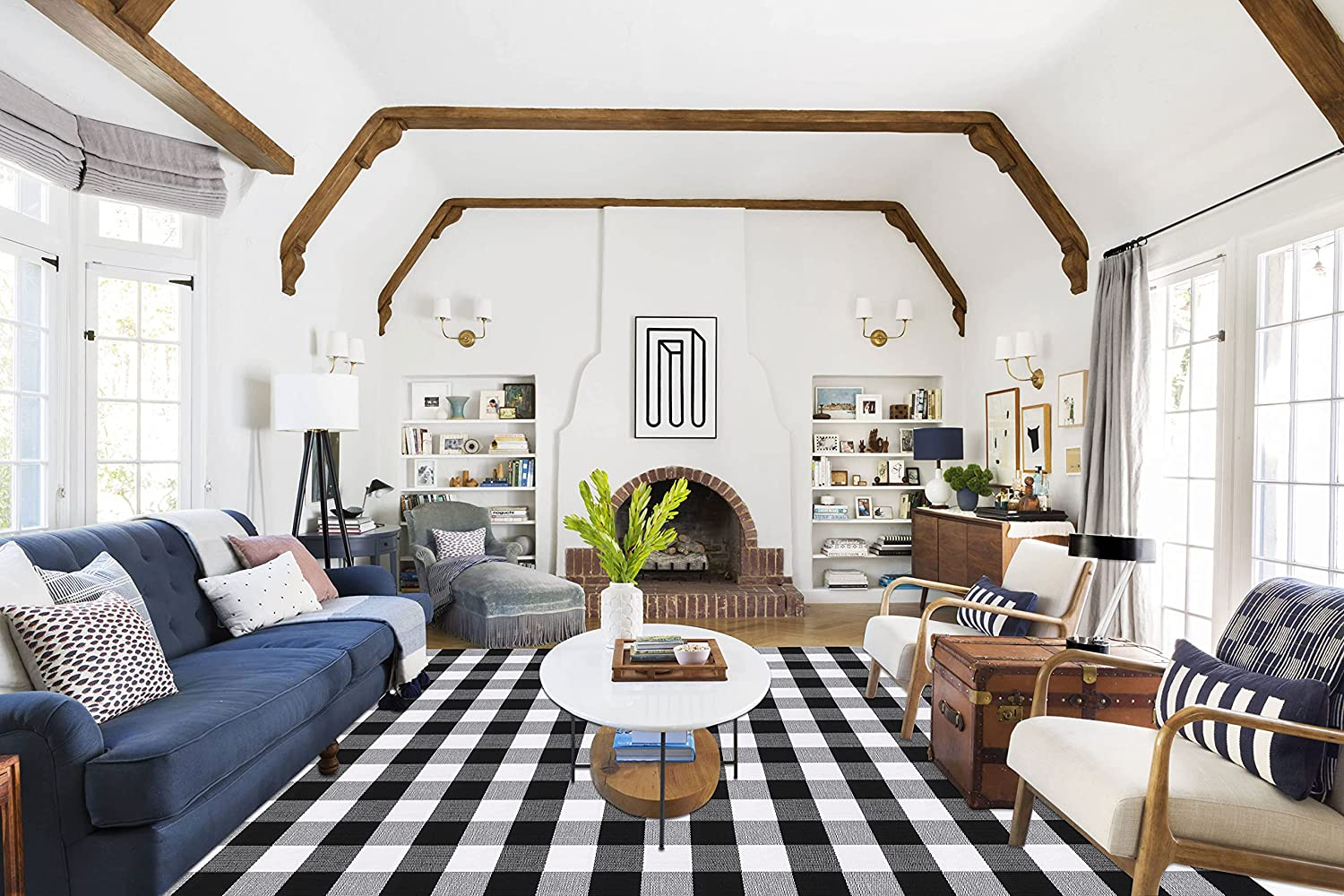 Rapid rise Outlet ☆ Free Shipping SEEKSEE 100% Cotton Plaid Buffalo Rugs and Whi 5.5' x Black 7.5'