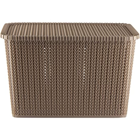 Polyset Plastic Storage Basket Marvel 60 with Lid-Sandy Brown , Multi Purpose Storage, Office stationery storage box, Ventilated, Bathroom, Bedroom, Clothes, Toys. (Lightbrown)