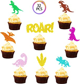 QMZ Baby Dinosaur Cupcake Toppers Roar Glitter Dinosaur Cake Toppers for Kids Birthday Baby Shower Party Decorations Supplies (32 Pack)