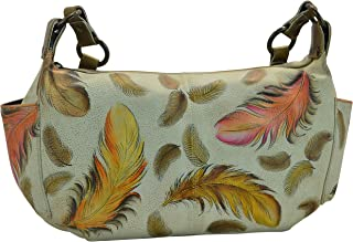 Anuschka Handpainted Leather East West with Side Pockets,Floating Feathers Ivory