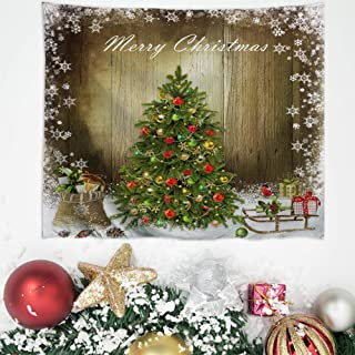 Baccessor Christmas Tapestry Wall Hanging Christmas Tree with Present Boxes White Snow on Wooden Board Winter Holiday Wall Art for Bedroom,Living Room, Dorm,60
