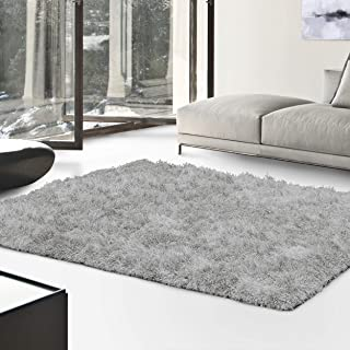 Superior Textured Shag Area Rug, Silver, 5' x 8'