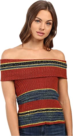 Carly Cowl Off the Shoulder Stripe Sweater Top