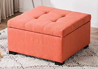 Legend Furniture Square Ottoman Bench With Large Storage Space and Safety Hinge for living room/bedroom Sectional, orange