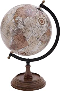 Deco 79 Traditional Wood, Metal, and Plastic Decorative Globe, 14''H,9''W, Multicolored Finish