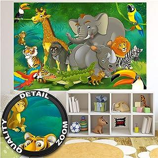 GREAT ART XXL Póster Cuarto De Los Niños – Jungla Safari – Parque Natural Animales Salvajes Jirafa Elefante Mono Lion Loro Kids Cartel De Pared Y Decoración Estilo Cómico (140 X 100 Cm)