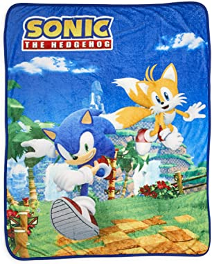 Sonic The Hedgehog Sonic & Tails Large Fleece Throw Blanket | Official Sonic The Hedgehog Collectible Blanket | Measures 60 x