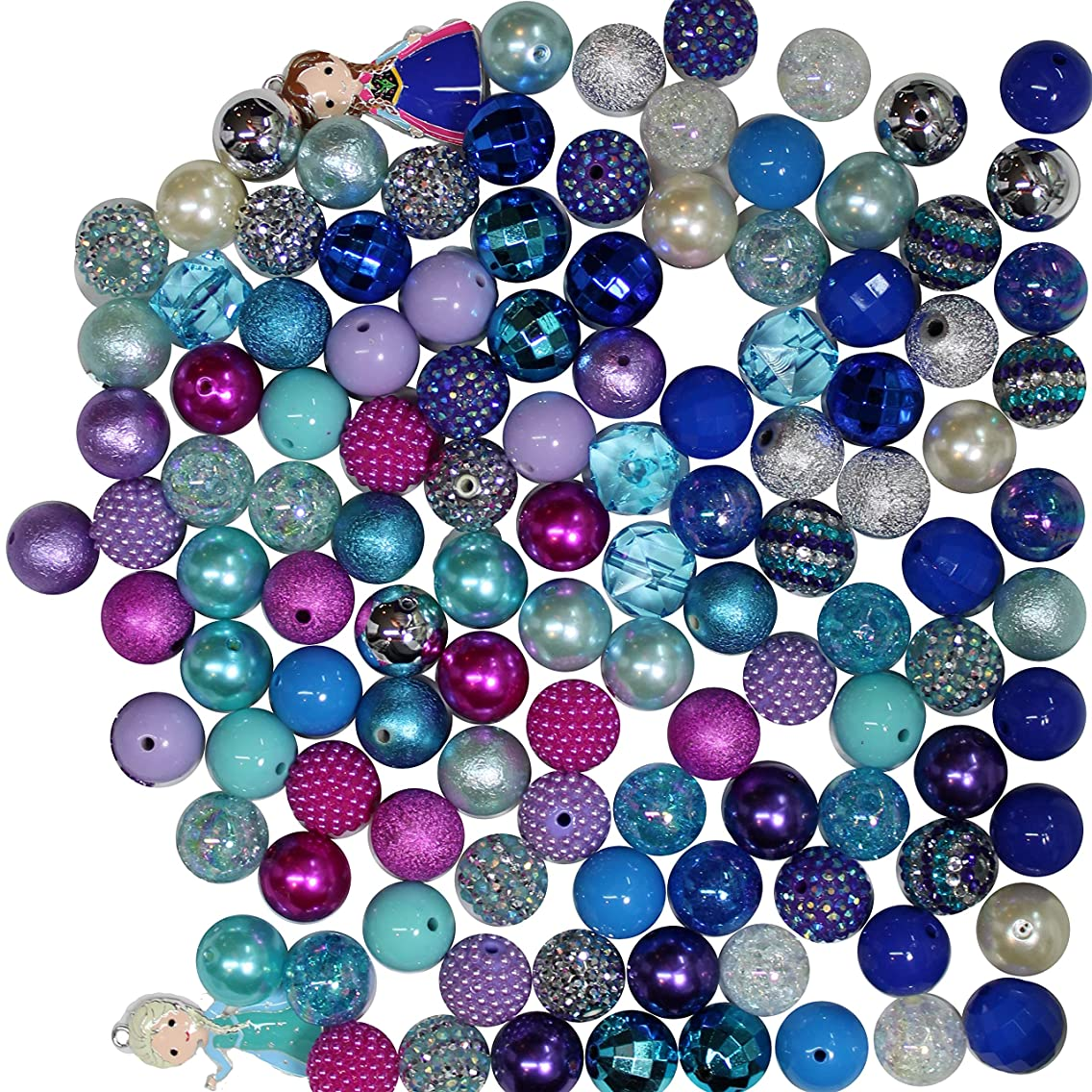 Ice Princess Party Theme Bulk Mix of 20mm Bubblegum Beads in Pink, Purple, Turquoise, Blue with 2 Pendant