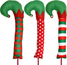 Gift Boutique Christmas Elf Leg Picks Plush Stuffed Feet with Elves Shoes Sticks with Jingle Bells Red, Green and White Colors Set of 3 Tree Ornament Decorations