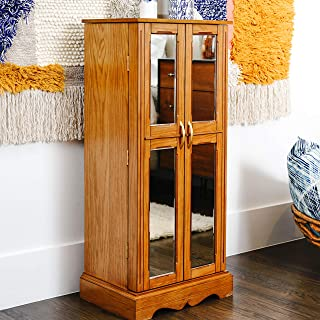 Hives & Honey Chelsea Mirrored Armoire Jewelry Cabinet, Walnut