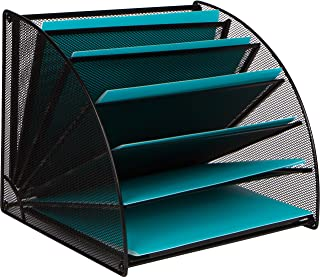 Mesh Office Organizer for Desk - Fan Shaped Desktop Organizer with 6 Compartments for Filing Paper, Bills, Letters. Desk F...