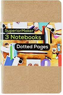 Travel Journal, Dotted Pocket Notebook, Kraft Brown Soft Cover, 3.5 x 5.5 in. - SuperiorMaker (3 Pack)