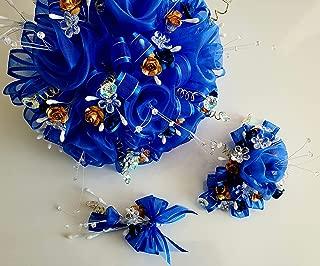 Elegant Royal Blue & Golden Flowers Three Piece Quinceañera Party Bouquet