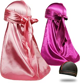 2Pcs Silky Durags for Men 360 Waves, Do Rag Award 1 Wave Cap