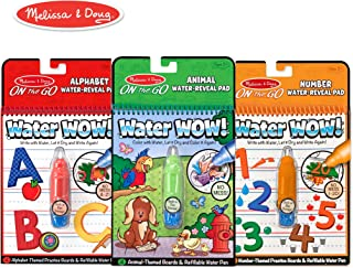 Melissa & Doug Water Wow! Reusable Color with Water On the Go Activity Pad 3-Pack, Animals, Alphabet, Numbers (Renewed)