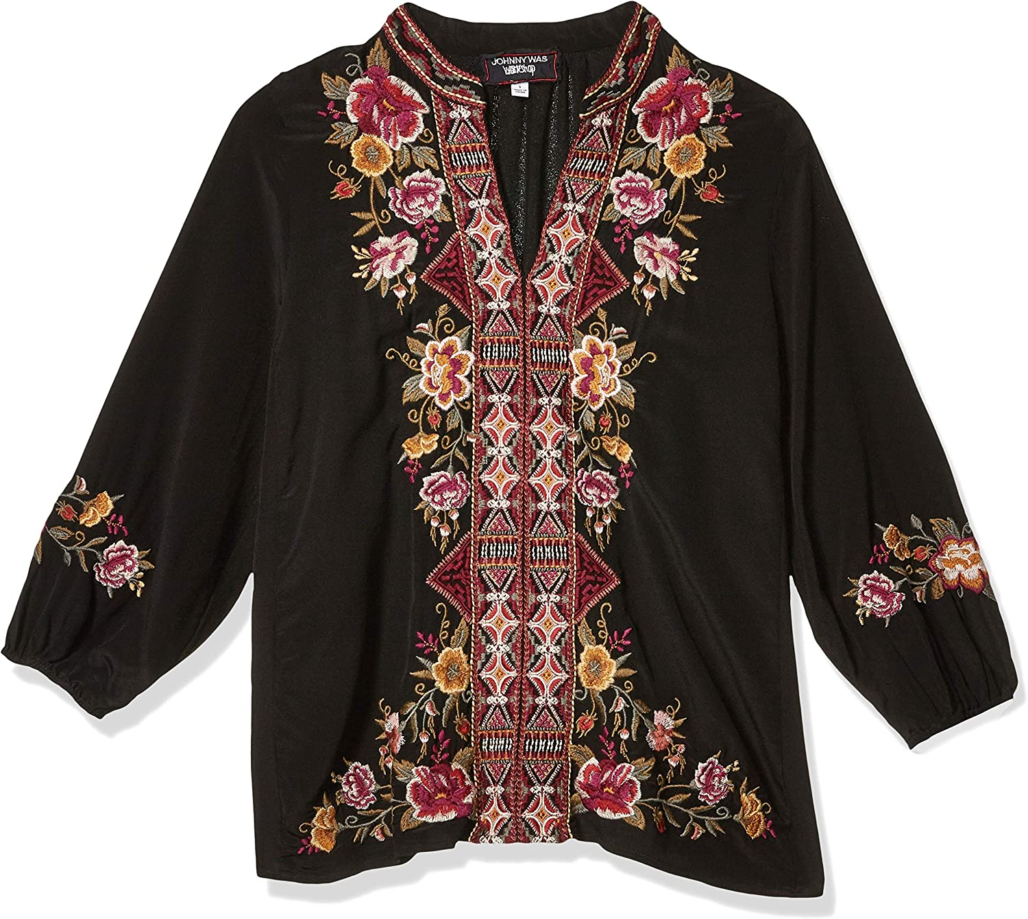 3J Workshop by Johnny Was Women's Silk Embroidered Peasant Blouse Black