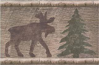 Wall Border - Brown Moose Green Chrismas Tree Distressed Wallpaper Border Retro Design, Prepasted Roll 15 ft. x 7 in.