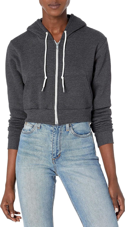 Marky G Apparel Women's Flex Fleece Cropped Zip Hoodie Sweatshirt