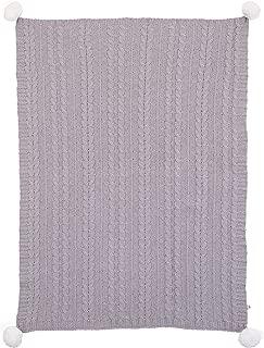 ED Ellen DeGeneres Starry Night - Super Soft Chenille Baby Blanket, Cable Knit with Pom Poms, Grey/White