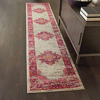 """Nourison Passion Distressed Vintage Ivory/Fuchsia Area Rug Runner 2'2"""" x 7'6"""""""