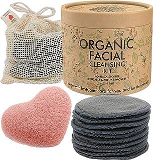 Reusable Makeup Remover Pads (10 Pack) Premium 100% Organic Facial Cotton Rounds for Toner | Bonus Konjac Sponge Facial Sc...