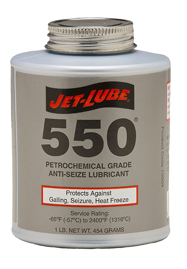 Jet-Lube 550 Nonmetallic Petrochemical Grade Anti Seize and Thread Lubricant, 1/2 lbs Brush Top Can