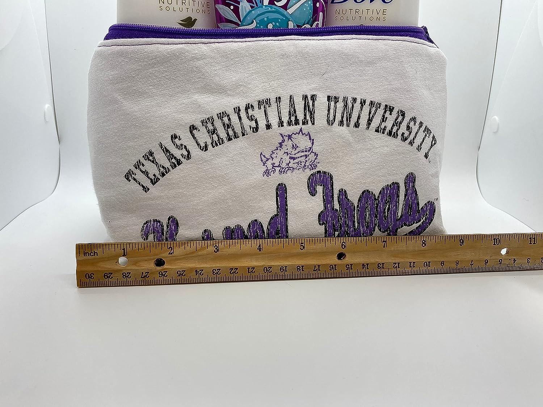 Texas Christian university TCU bag white Free sale shipping on posting reviews make-up cosmetic