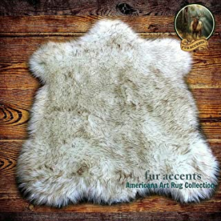 Fur Accents Faux Fur Bear Skin Accent Rug White with Brown Tips 3'x5'