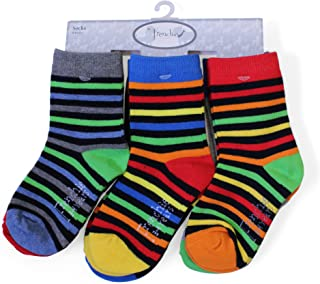 Frenchie Mini Couture, Paquete de 6 calcetines a rayas y lisos de longitud media  Red, Green, Blue, Yellow, Orange Talla:3-6