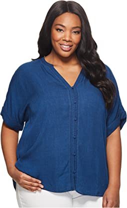 NYDJ Plus Size Plus Size Short Sleeve Boyfriend Shirt