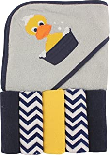 Luvable Friends Unisex Baby Hooded Towel with Five Washcloths, Duck, One Size